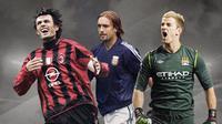 Paolo Maldini, Gabriel Batistuta dan Joe Hart. (Bola.com/Dody Iryawan)
