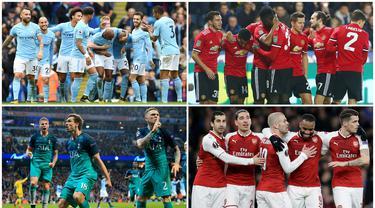 Berikut ini 10 klub dengan jumlah penonton terbanyak di Premier League musim 2019. Manchester United teratas dengan 74.498 penonton. (Foto Kolase AP dan AFP)