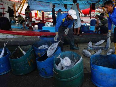 Nelayan menurunkan ikan hasil tangkapan laut di Muara Baru, Jakarta, Kamis (29/3). Kementerian Kelautan dan Perikanan (KKP) terus mengupayakan peningkatan ekspor komoditas perikanan hasil tangkapan dari nelayan tradisional. (Liputan6.com/Angga Yuniar)