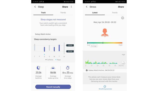 Deteksi pola tidur dan stress lewat aplikasi Samsung Health. (Liputan6.com/ Yuslianson)