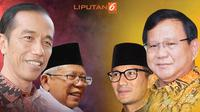 Banner Headline Jokowi-Ma'ruf Amin Vs Prabowo Subianto-Sandiaga Uno. (Liputan6.com/Triyasni)