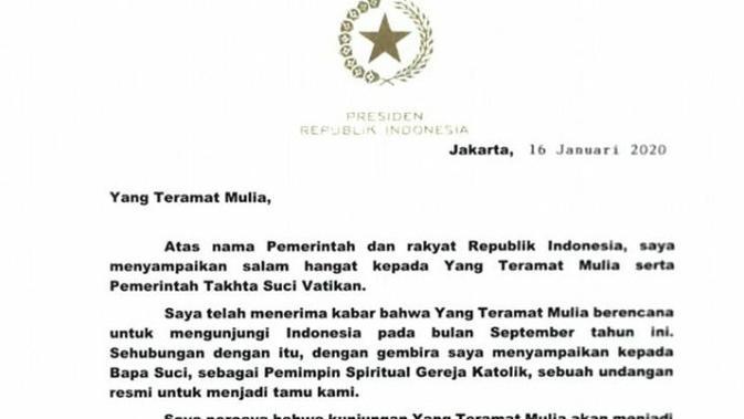 [Cek Fakta] Klarifikasi Surat Jokowi Terkait Kedatangan Paus Fransiskus.