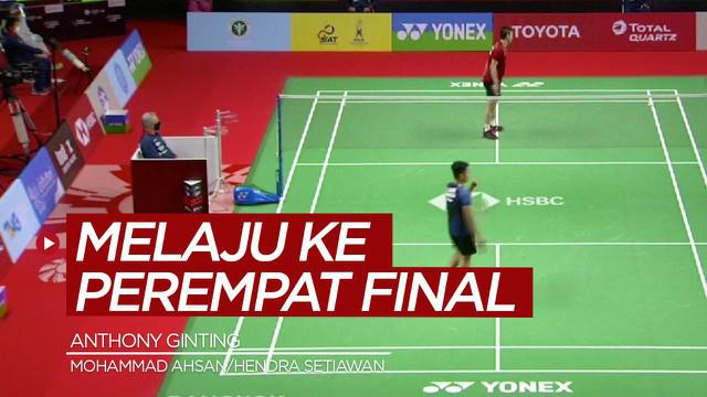 Berita video highlights kemenangan Anthony Ginting dan Mohammad Ahsan / Hendra Setiawan yang mengantarkan mereka ke perempat final Thailand Terbuka 2021, Kamis (14/1/2021).