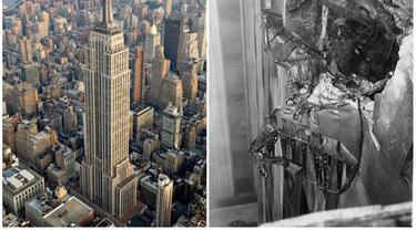 Pada 28 Juli 1945, jet tempur B-25 Bomber mengancurkan sebagian Empire State Building (Wikipedia/Sam Valadi CC BY 2.0/Public Domain)