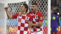 Luka Modric merayakan golnya ke gawang Nigeria. (AFP/Patrick Hertzog)
