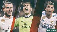 Pemain Real Madrid - Gareth Bale, Iker Casillas, Cristiano Ronaldo (Bola.com/Adreanus Titus)