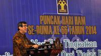 Menkum HAM, Yasonna Laoly  menghadiri acara Peringatan Hari HAM se-dunia ke-66 di Jakarta, Rabu (10/12/2014). (Liputan6.com/Miftahul Hayat)
