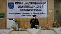 Wali Kota Depok, Mohammad Idris saat meresmikan laboratoirum Biomolekular di RSUD Kota Depok. (Humas Pemkot Depok)