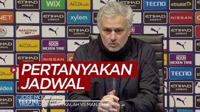 Berita video Manajer Tottenham Hotspur, Jose Mourinho, mempertanyakan soal jadwal bertanding Manchester City setelah kekalahan Spurs 0-3 dari The Citizens di Liga Inggris 2020/2021.