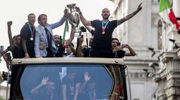 Di bawah asuhan Mancini, Timnas Italia tampil superior dengan mencatatan rekor 34 pertandingan tanpa terkalahkan. (Foto:AP/Roberto Monaldo)