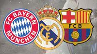 Logo Bayern Munchen, Barcelona dan Real Madrid. (Bola.com/Dody Iryawan)