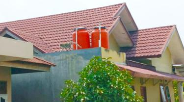 Seekor monyet memanjat atap salah satu rumah warga di Kota Pekanbaru.