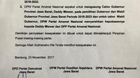 Surat rekomendasi untuk Deddy Mizwar-Achmad Syaikhu