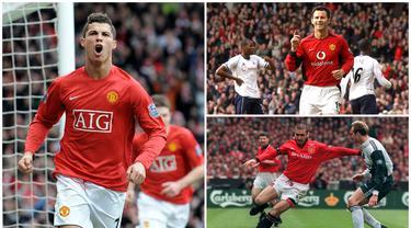 Manchester United berhasil mencapai masa kejayaan saat dilatih oleh Sir Alex Ferguson dengan meraih 13 gelar juara Liga Inggris. Berikut ini tujuh pemain terbaik Manchester United saat era Sir Alex Ferguson. (Kolase foto dari AFP)