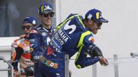 Valentino Rossi dan Maverick Vinales meraih podium kedua dan ketiga di MotoGP Jerman 2018. (dok. Yamaha MotoGP)
