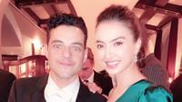 Raline Shah cantik pakai gaun hijau saat foto bareng Rami Malek di ajang Golden Globes 2019 (Dok.Instagram/@ralineshah/https://www.instagram.com/p/BsVHLjTgbSc/Komarudin)
