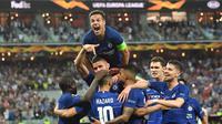 Selebrasi para pemain Chelsea setelah mencetk gol ke gawang Arsenal pada final Liga Europa 2018-2019, Kamis (30/5/2019) dini hari WIB. Chelsea menjadi jawara setelah unggul 4-1.  (AFP / Ozan Kose)