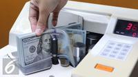 Petugas menghitung Dolar AS menggunakan mesin, Jakarta, Selasa (7/6). Mata uang dollar AS terus melemah terhadap rupiah sejak dibuka tadi pagi. (Liputan6.com/Angga Yuniar)