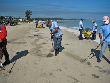 Para pekerja dengan mengenakan masker membersihkan pantai di Havana pada Senin (15/6/2020). Kuba akan menguji semua pelancong untuk Covid-19 dan membatasi kontak mereka dengan penduduk setempat ketika perbatasan dibuka kembali untuk turis asing. (Yamil LAGE / AFP)