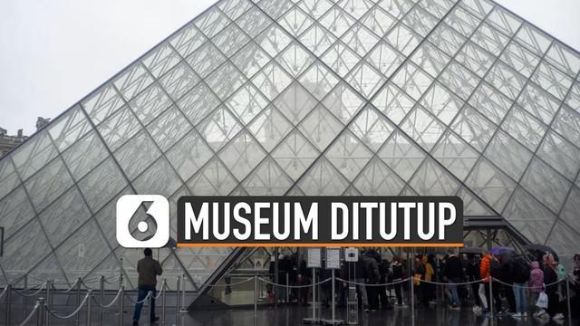 Museum Louvre, salah satu ikon wisata di Paris, Perancis, menutup layanannya untuk sementara.