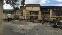 Kondisi Polsek Tambelangan Sampang usai dibakar massa