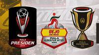 Logo Piala Presiden, Piala Gubernur jatim dan Piala Indonesia. (Bola.com/Dody Iryawan)
