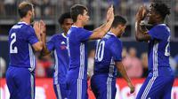 Selebrasi Oscar setelah mencetak gol ketiga untuk Chelsea ke gawang AC Milan pada ajang ICC 2016, Kamis (4/8/2016). (AFP)