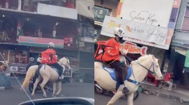 Viral Driver Ojol Antar Makanan Naik Kuda Putih, Bak Pangeran