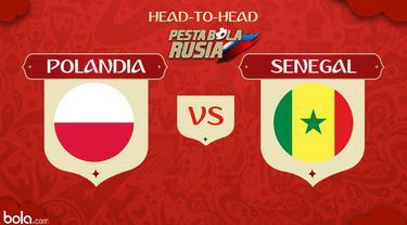 Berikut head to head kekuatan sebelum pertandingan antara Polandia vs Senegal di Piala Dunia 2018.