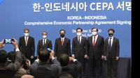 Kemendag melakukan Penandatanganan Perjanjian Kemitraan Ekonomi Komprehensif Indonesia-Korea Selatan (Indonesia-Korea Comprehensive Economic Partnership Agreement/IK-CEPA), di Seoul Korea Selatan, Jumat (18/12/2020).