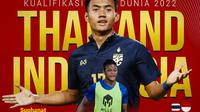 Kualifikasi Piala Dunia - Thailand Vs Indonesia - Duel Antar Lini Suphanat Mueanta Vs Saddam Gaffar (Bola.com/Adreanus Titus)
