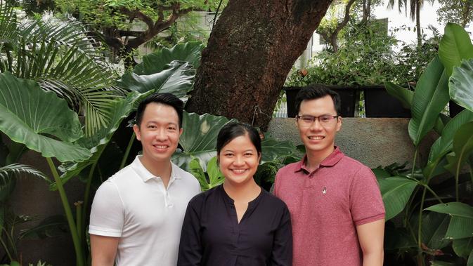 Dari kiri ke kanan, Co-founder dan COO Nusantics Vincent Kurniawan, Co-founder dan CEO Sharlini Eriza Putri, dan Co-founder dan CTO Revata Utama.
