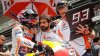 Pembalap Repsol Honda, Marc Marquez, menorehkan waktu lap tercepat pada tes resmi MotoGP di Sirkuit Catalunya, Barcelona, Senin (18/6/2018). (MotoGP)