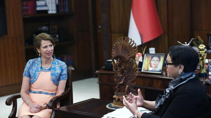 Utusan Khusus PBB untuk Myanmar, Duta Besar Christine Burgener (kiri) bertemu Menteri Luar Negeri RI Retno Marsudi di Jakarta (28/3/2019) (Rizki Akbar Hasan / Liputan6.com)