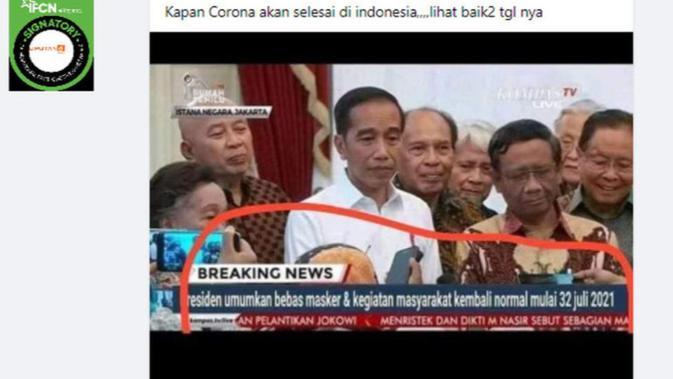 Cek Fakta Liputan6.com menelusuri klaim foto Presiden Jokowi umumkan bebas masker dan kegiatan masyarakat kembali normal