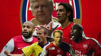 Arsenal - Arsene Wenger, Thiery Henry, Robert Pires, Patrick Vieira, Dennis Bergkamp, Ljungberg, Sol Campbell (Bola.com/Adreanus Titus)