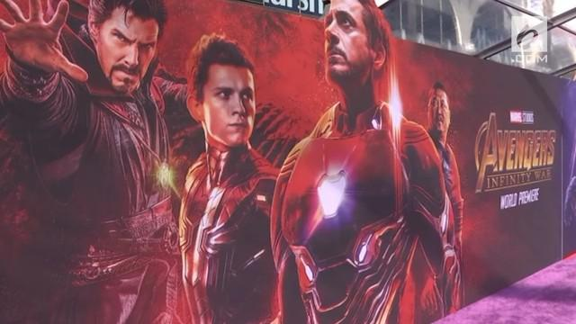 Suasana gala premiere Film Avengers: Infinity War di El Capitan Theatre, Los Angeles.
