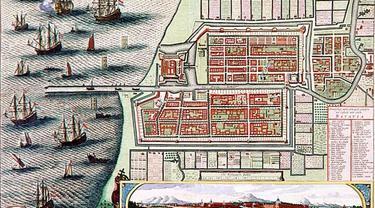 Peta kota Batavia lama, cikal bakal Jakarta pada 1740