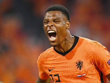 Belanda berhasil meraih kemenangan kedua beruntun di Grup C Euro 2020 dengan mengalahkan Austria 2-0. (John Thys, Pool via AP)