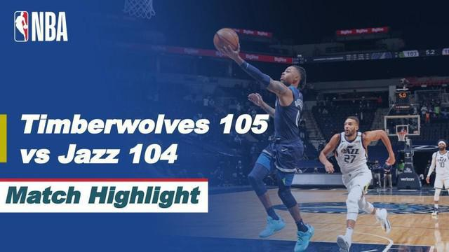 Berita video highlight NBA, Minnesota Timberwolves kalahkan Utah Jazz dengan skor tipis 105-104, Selasa (27/4/2021).