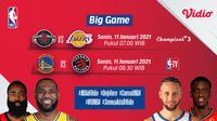 Live streaming pertandingan NBA, Rockets vs Lakers dan Warriors kontra Raptors, Senin (11/1/2021) dapat disaksikan melalui platform Vidio. (Dok. Vidio)