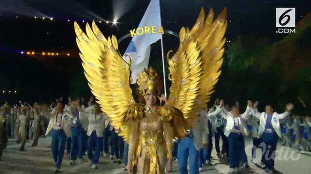 Pembukaan Asian Games, Kontingen Korea Selatan dan Utara berbaris dalam naungan bendera yang sama: Bendera Unifikasi (Liputan6)