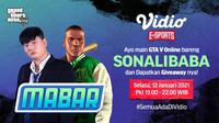 Main bareng GTA V bersama Sonalibaba, Selasa (12/1/2021) pukul 19.00 WIB dapat disaksikan melalui platform Vidio, laman Bola.com, dan Bola.net. (Dok. Vidio)