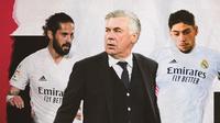 Federico Valverde, Carlo Ancelotti dan Isco. (Bola.com/Dody Iryawan)