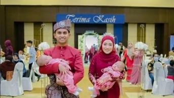 Pengantin Gendong Anak Kembar Saat Resepsi Pernikahan Mendadak Jadi Sorotan