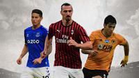 Ilustrasi - James Rodriguez, Zlatan Ibrahimovic, Raul Jimenez (Bola.com/Adreanus Titus)
