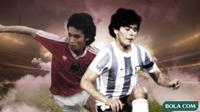 Zulkarnain Lubis dan Diego Maradona. (Bola.com/Dody Iryawan)