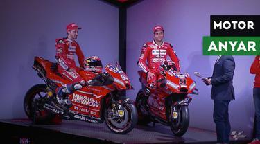 Berita video tim Ducati resmi meluncurkan Desmosedici GP19 di Philip Morris R&D Cube, Neuchatel, Swiss.