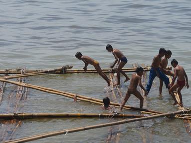 Anak-anak bermain di batang kayu bekas dermaga sandar kapal tradisional di Kawasan Cilincing, Jakarta, Selasa (10/4). Kegiatan bermain air laut ini merupakan bagian dari keseharian mereka sepeluang sekolah. (Merdeka.com/Imam Buhori)