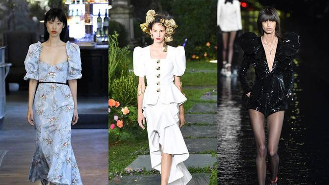 Brock Collection (left), Rodarte (centre), Saint Laurent (right), Mara Hoffman and Preen by Thornton Bregazzi (Glamour)